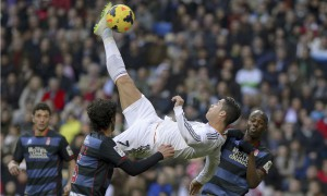 Real Madrid's Cristiano Ronaldo attempts to score with an overhead kick