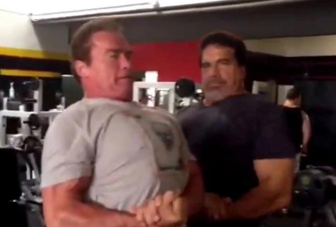 Terminator et Hulk font les pecs ensemble au Gold's Gym