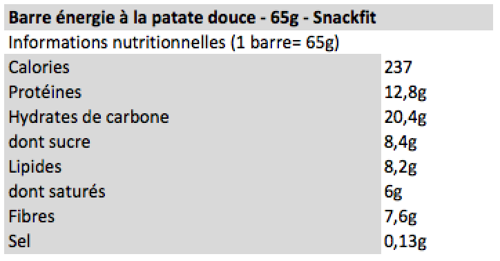 Barre patate douce Snackfit