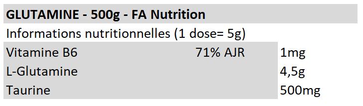 Glutamine en poudre - FA Nutrition
