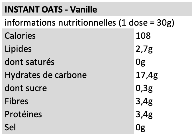 Instant oats - Fit&Healthy - Vanille