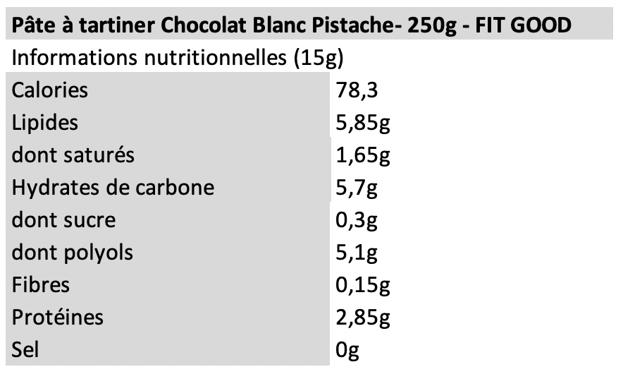 Pâte à tartiner chocolat blanc pistache - Fit Good