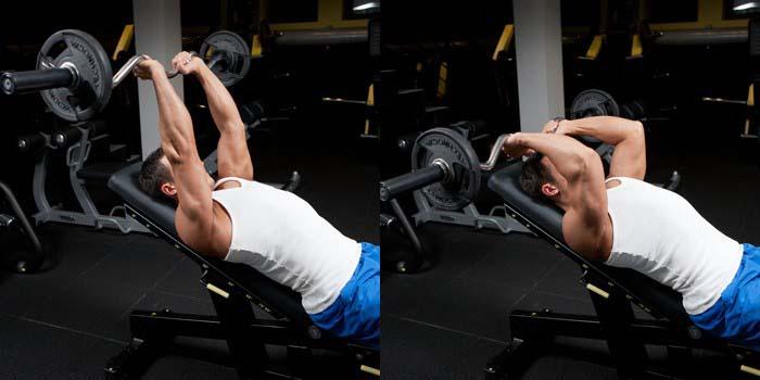 Barre au front triceps