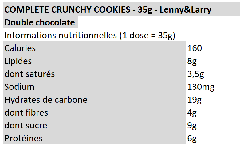 Complete crunchy cookies - Lenny&Larry - double chocolat