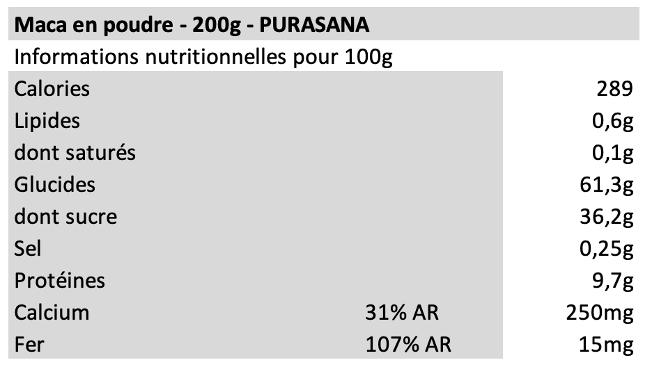 Maca en poudre - Purasana