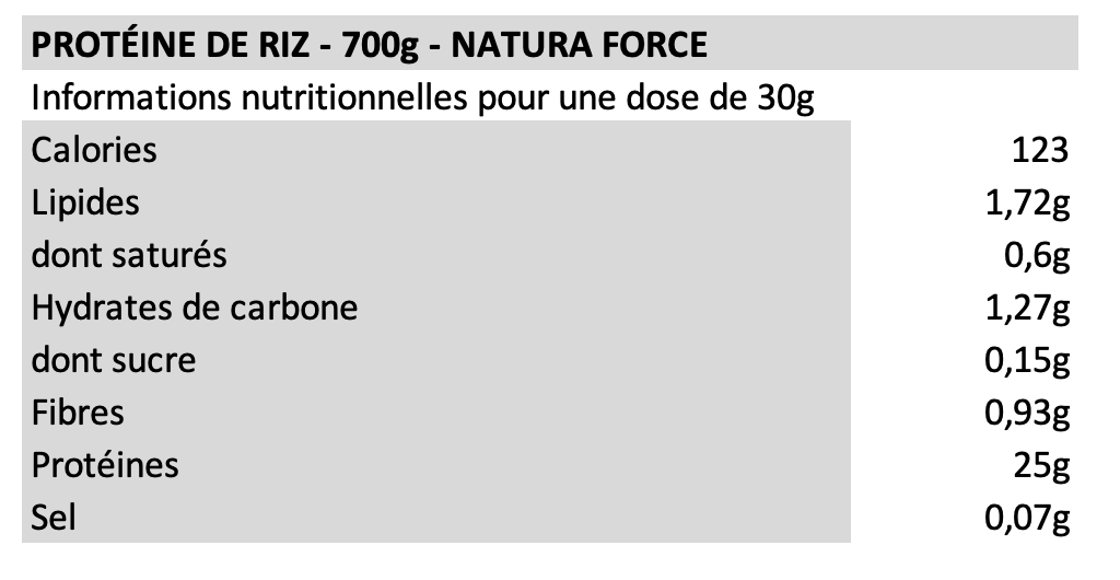 Protéine de riz - Natura Force