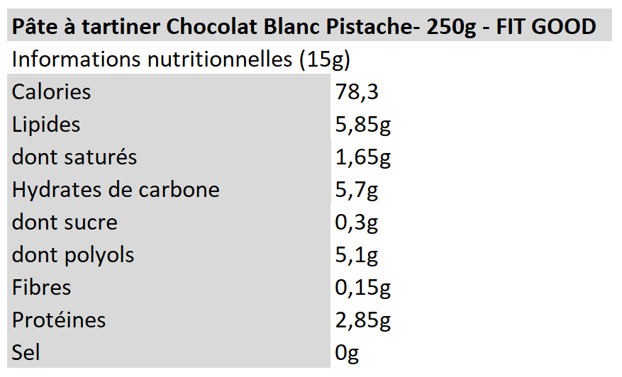Protein Spread - Chocolat blanc Pistache - Fit Good