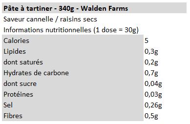 Walden farms - Beurre de cacahuètes cannelle raisins