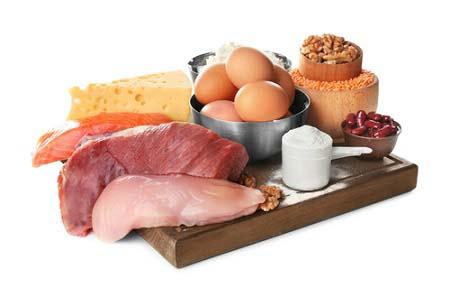 Les aliments d'un régime hyperprotéiné