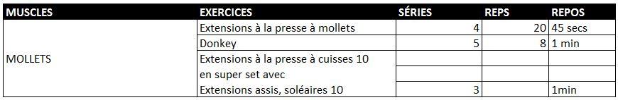 Programme mollets