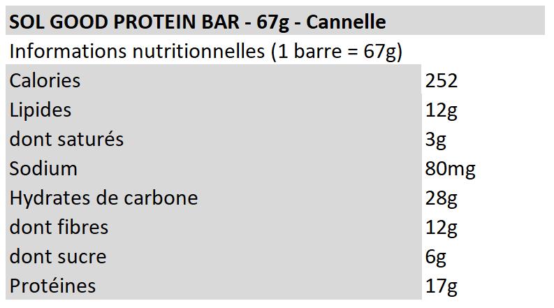 Sol Good Protein Bar - Cannelle - Sun Warrior