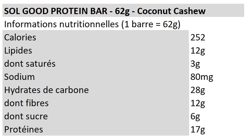 Sol Good Protein Bar - Coconut Cashew - Sun Warrior