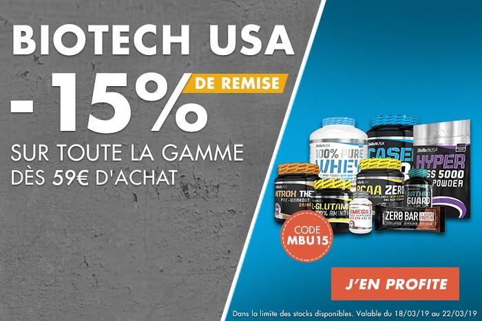 Biotech USA : -15% sur toute la gamme dès 59€ d
