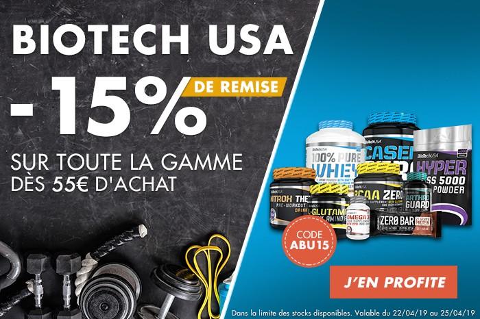 Biotech USA : -15% sur toute la gamme dès 55€ d