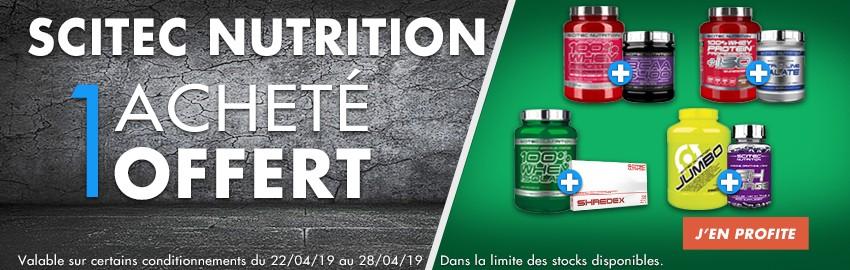 Scitec Nutrition : 1 protéine achetée, 1 complément offert