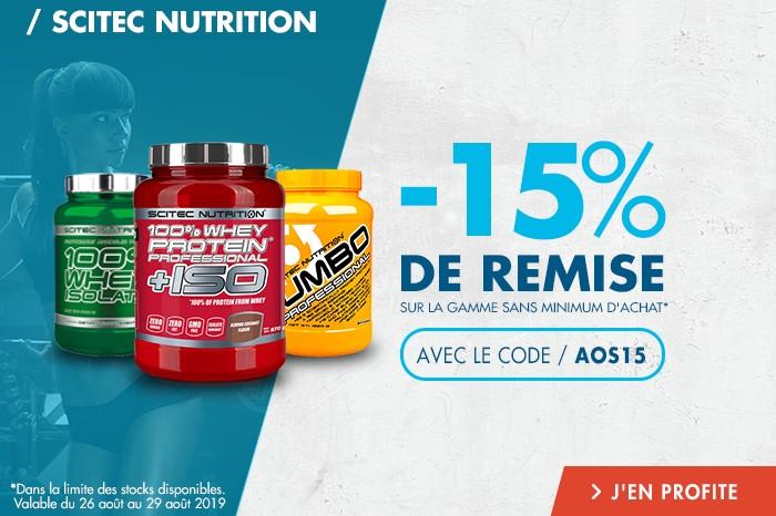 Scitec Nutrition : -15% de remise sur toute la gamme sans montant minimum d